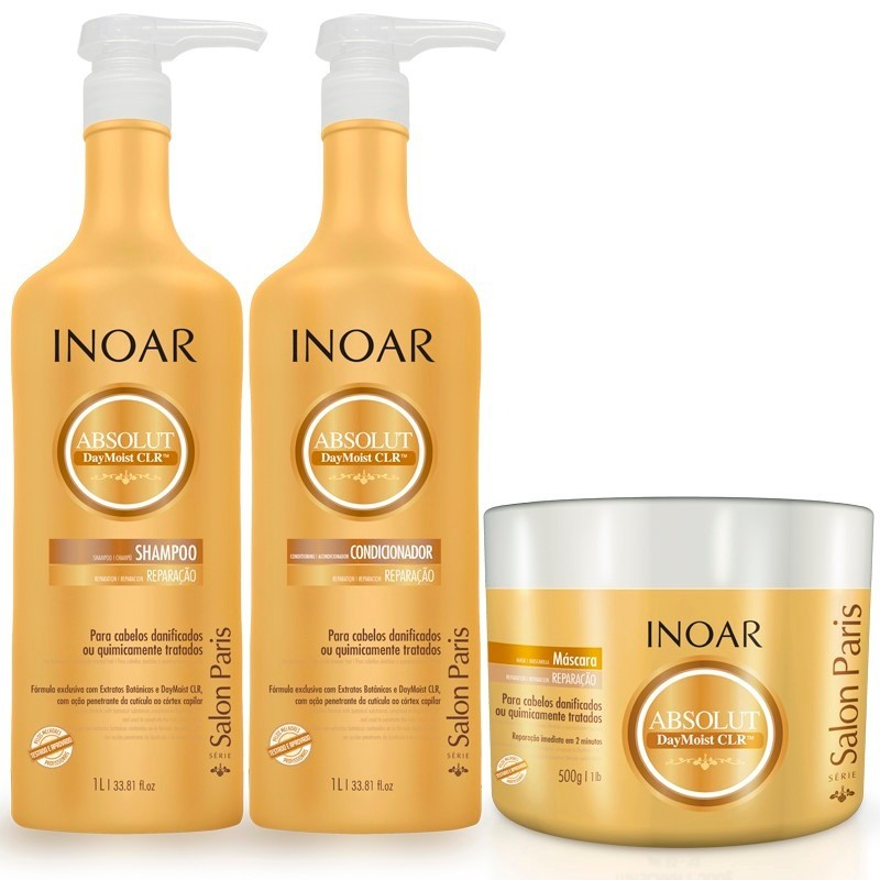b5dcb8b63 Kit Inoar Absolut DayMoist Shampoo 1000ml + Condicionador 1000ml + Mascara  500g