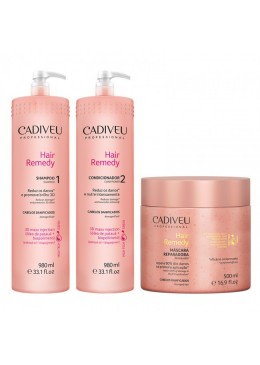 Cadiveu Hair Remedy - Kit Profissional 3 Produtos (Sh.+Cond.+Masc.)  Beautecombeleza.com
