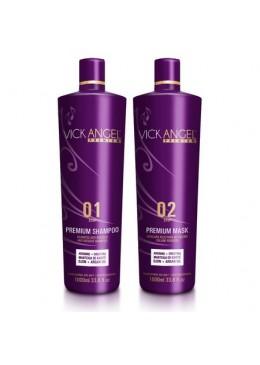 Premium Progressive Brazilian Blowout Keratin Replenishing Kit 2x1L - Vick Angel Beautecombeleza.com