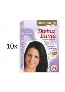 Lot of 10 Henê Bluish Blue Black Powder Henna Straightening 50g - Divina Dama Beautecombeleza.com