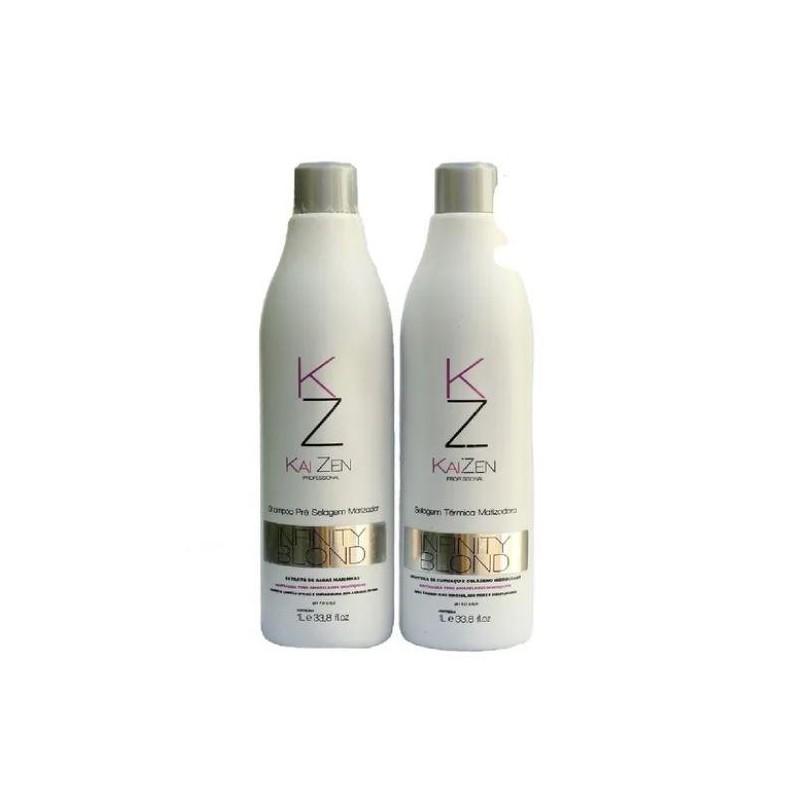 Infinity Blond Tinting Thermal Anti Frizz Hydration Sealing Kit 2x1L - Kaizen Beautecombeleza.com