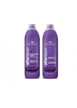 Afro Hidrat 22 Curly Wavy Hair Moisturizer Anti Frizz Kit 2x1000ml - All Nature Beautecombeleza.com