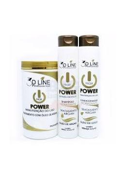 Kit Oil Argan 3D Line Hair Care Capillary Shampoo Conditioner Mask